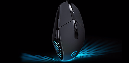 Vertical G302 mouse emphasizing design and buttons